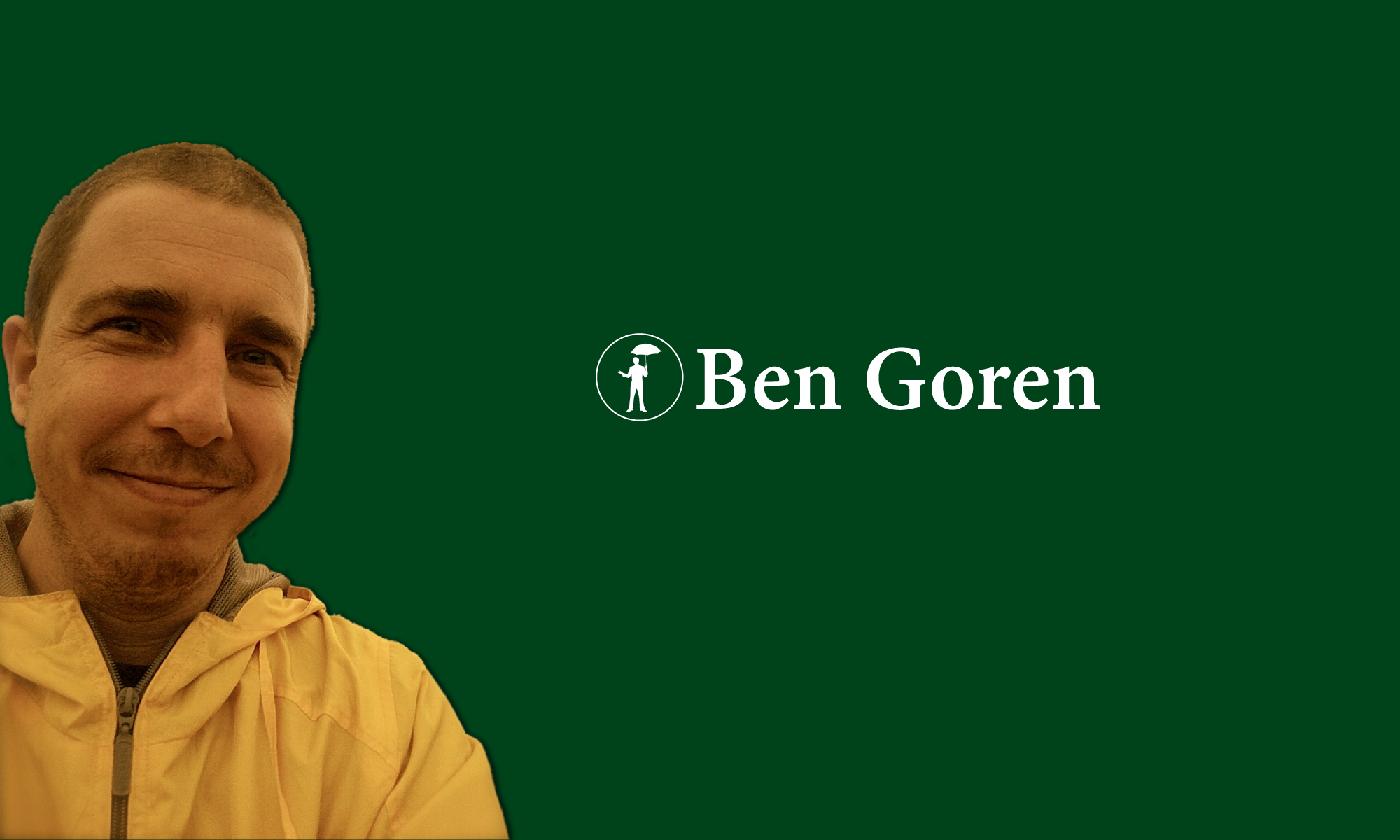 Home page full screen image of Ben Goren and title of website