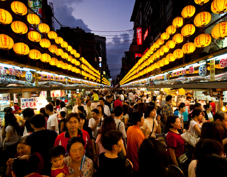Night market in the port city of Keelung in Taiwan.