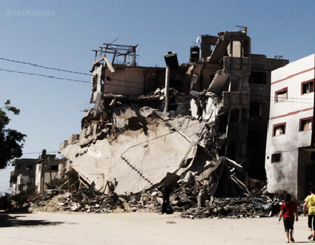 A bombed out building in Gaza City