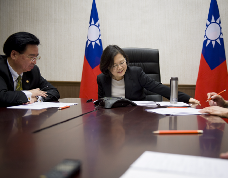 President Tsai talks on the phone to President Trump