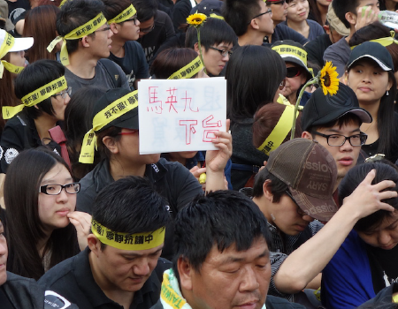 Taiwanese Sunflower student protestors sit in at Legislative Yuan