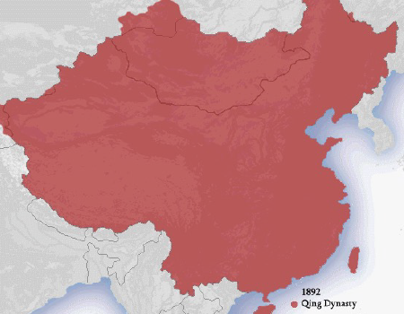 Map of extent of territory of Qing Dynasty China