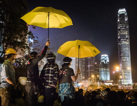 Night shot of umbrella movement protest in Hong Kong